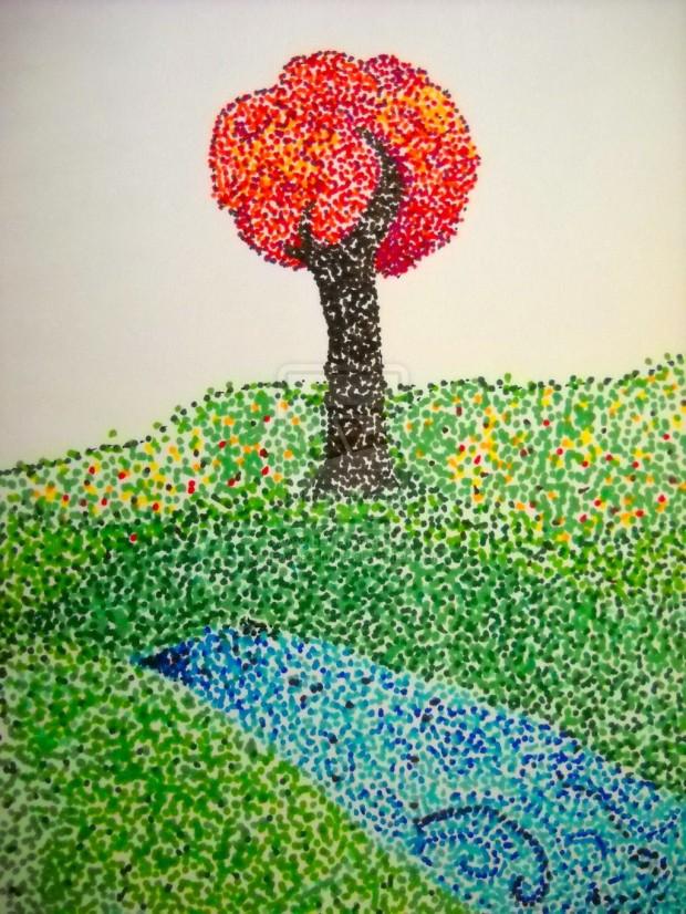 pointallism. Tree